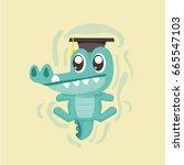 cute cartoon crocodile. | Shutterstock .eps vector #665547103