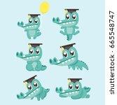 crocodile cute character in... | Shutterstock .eps vector #665548747