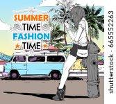 pretty girl on the summer beach ... | Shutterstock .eps vector #665552263