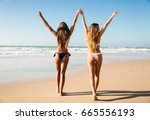 beautiful girls in bikin... | Shutterstock . vector #665556193