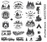 summer camp with design... | Shutterstock . vector #665557003
