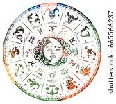 zodiac signs  horoscope  vector ... | Shutterstock .eps vector #665566237