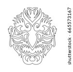 tribal evil mask. japanese... | Shutterstock .eps vector #665573167