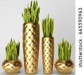 3d digital render of sansevieria | Shutterstock . vector #665590963