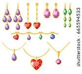 traditional golden jewellery... | Shutterstock .eps vector #665594533