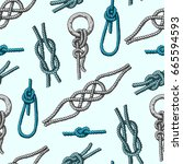 different sea boat knots types... | Shutterstock .eps vector #665594593