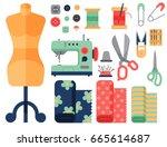 thread supplies accessories... | Shutterstock .eps vector #665614687
