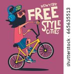 hipster  bicycle vector design | Shutterstock .eps vector #665635513