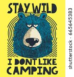 cute bear  camping and outdoor... | Shutterstock .eps vector #665645383