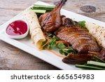 traditional chinese peking duck ... | Shutterstock . vector #665654983
