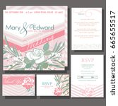 set of wedding cards or... | Shutterstock .eps vector #665655517