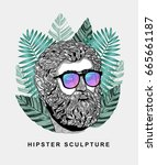 hipster classical sculpture.... | Shutterstock .eps vector #665661187