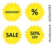 discount stickers  sale  50  off | Shutterstock .eps vector #665662483