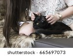 Stock photo  girl holding her black cat at home 665697073
