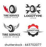 set of tyre shop logo design.... | Shutterstock .eps vector #665702077