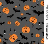 seamless halloween pattern... | Shutterstock .eps vector #665706163