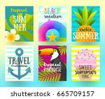 set of summer holidays and...   Shutterstock .eps vector #665709157