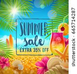summer sale vector design.... | Shutterstock .eps vector #665714287