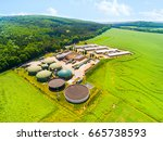 aerial view over biogas plant...   Shutterstock . vector #665738593