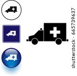 ambulance symbol sign and button | Shutterstock .eps vector #665739637