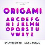 vector origami alphabet. letter ... | Shutterstock .eps vector #665750527
