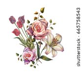 watercolor bouquet lily and... | Shutterstock . vector #665758543