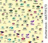 eye blinker seamless pattern... | Shutterstock .eps vector #665759173