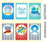 set of nautical and marine... | Shutterstock .eps vector #665760433