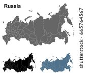 set of russia outline maps in... | Shutterstock .eps vector #665764567