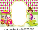 vector card template with cute... | Shutterstock .eps vector #665765833