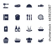 set of 16 restaurant icons set... | Shutterstock .eps vector #665815387