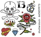old school vintage retro tattoo ...   Shutterstock .eps vector #665859973