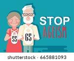 stop ageism concept. vector... | Shutterstock .eps vector #665881093