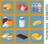 fast food  sausage  chemical...   Shutterstock .eps vector #665884933
