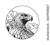 vector hand drawn bird of prey... | Shutterstock .eps vector #665905867