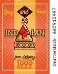 color vintage indian food banner | Shutterstock .eps vector #665912497