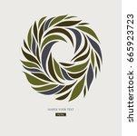 logo design from petals  leaves ... | Shutterstock .eps vector #665923723