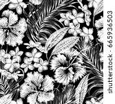 monochrome aloha hawaiian shirt ... | Shutterstock .eps vector #665936503