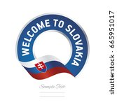 welcome to slovakia flag blue... | Shutterstock .eps vector #665951017