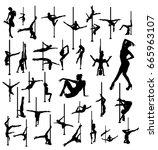 striptease silhouettes | Shutterstock .eps vector #665963107