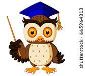 vector illustration of wise owl | Shutterstock .eps vector #665964313