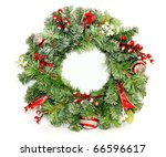 traditional christmas wreath... | Shutterstock . vector #66596617