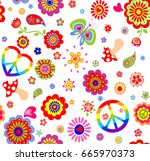 childish wallpaper with... | Shutterstock .eps vector #665970373