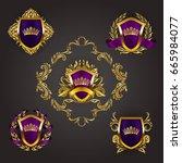 set of golden royal shields... | Shutterstock .eps vector #665984077