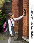 schoolgirl with rucksack... | Shutterstock . vector #665984317
