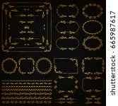 set of gold decorative hand... | Shutterstock .eps vector #665987617