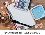 thai baht coins money... | Shutterstock . vector #665995477