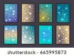 card set with floral glowing... | Shutterstock .eps vector #665995873