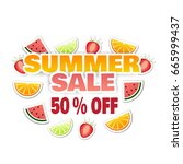 summer sale. vector poster with ... | Shutterstock .eps vector #665999437