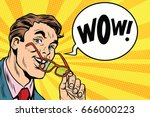 wow an intelligent with glasses.... | Shutterstock .eps vector #666000223